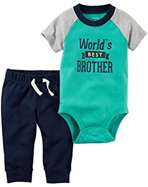 Carter's Baby Boys' Slogan Bodysuit Pant Sets