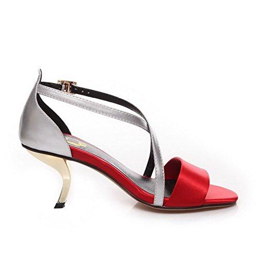 Assorted AllhqFashion Damen Schnalle High Satin Heels Offene Zehensandalen Farbe Rot wxgqXxF