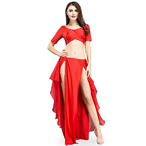 ROYAL SMEELA Chiffon Belly Dance Costume Set for Women, One Size, Red Belly Dancing Skirt Dance Dress, 6 Colors