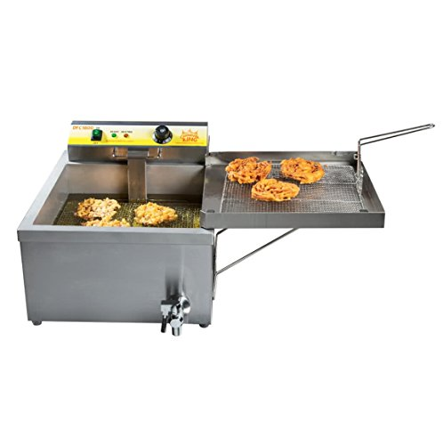 25 lb. Electric Countertop Funnel Cake/Donut Deep Fryer - 120V Stainless steel construction; includes 2 wire mesh product trays