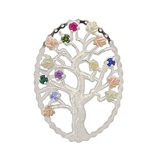 (Multi Gemstone Tree Pendant Necklace, Sterling Silver, 12k Green and Rose Gold Black Hills Gold Motif,)