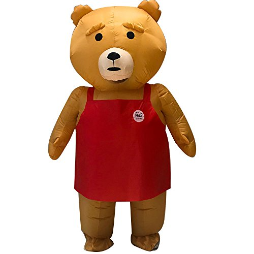 Inflatable Teddy Bear Fat Body Suit Blow Up Fancy Dress Funny Costume Halloween Party (Brown) -