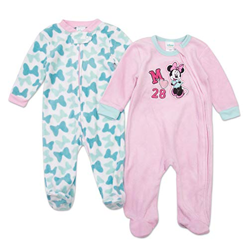 Disney Minnie Mouse Footie Pajamas - Minnie Mouse Baby Girls Footie Sleeper - 2 Piece Set (Pink/Bows, 3M-6M) -