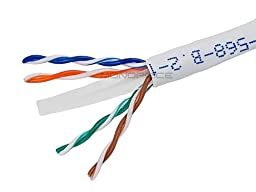 Monoprice 1000-Feet 23 AWG Cat6 500MHz UTP CMR Solid Bulk Bare Copper Ethernet Cable - White (108108)