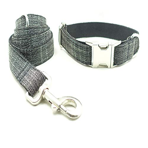 Grid Chrome Plated (Avenpets Durable Nylon Puppy and Dog Collar with Chrome Plated D Ring Personalized Grid Dog Collar Dark Grey-Set S:(Neck 12