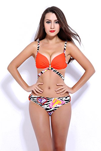 Fortuning's JDS traje de baño vendaje de las mujeres impresas empuja hacia arriba bikini conjunto naranja