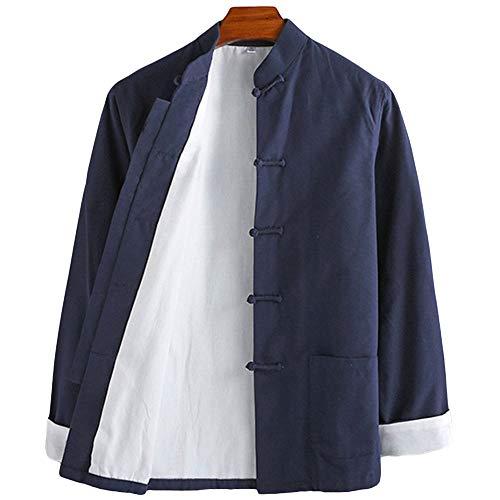 ZooBoo Mens Martial Arts Kung Fu Jacket Tang Suit (L, Dark Blue)
