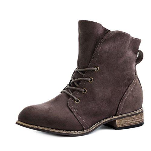 Marimo Stylische Ankle Worker Boots Schnür Stiefeletten Stiefel in Hochwertiger  Lederoptik Khaki Wildlederoptik
