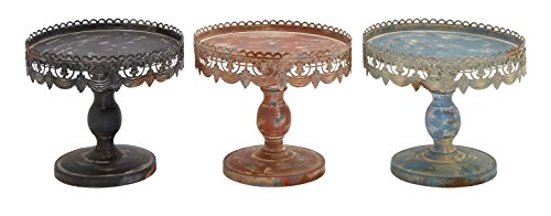 Deco 79 Traditional Style 3 Assorted Metal Stand, Black Metal Finish