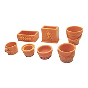 Gazechimp Sistema de 7pcs 1/12 Maceta de Flor en Miniaturas para Decoración de Jardín de Hada de Casa de Muñeca