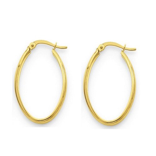 Amythyst Yellow Gold Tone Stainless Steel Oval Hoop Earrings ()
