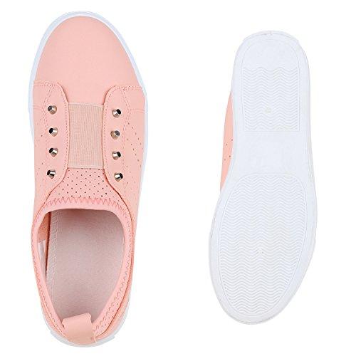 Stiefelparadies Flache Damen Slip-Ons Sportliche Slipper Schuhe Bequemschuh Flandell Peach Nieten