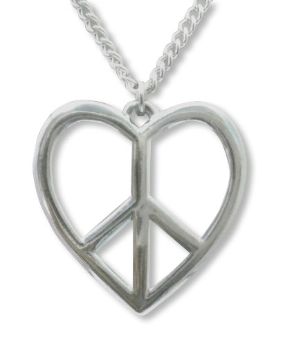 Heart Necklace Sign Peace (Real Metal Peace Sign in Heart Frame Polished Silver Finish Pewter Pendant Necklace)