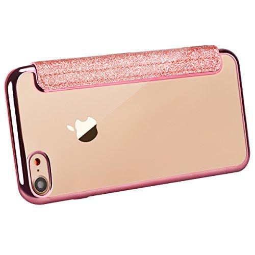 WE LOVE CASE iPhone 7 4,7 Hülle Glitzern Funkeln Bling Sparkle , iPhone 7 4,7 Lederhülle Schutzhülle Im Retro Luxus Style Weiche Überzug Bumper Case Cover Rose Gold Muster Tasche Handytasche Backcover