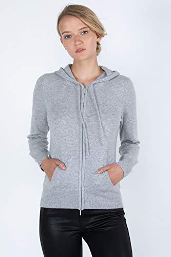 (JENNIE LIU Women's 100% Pure Cashmere Long Sleeve Zip Hoodie Sweater (S, Grey))