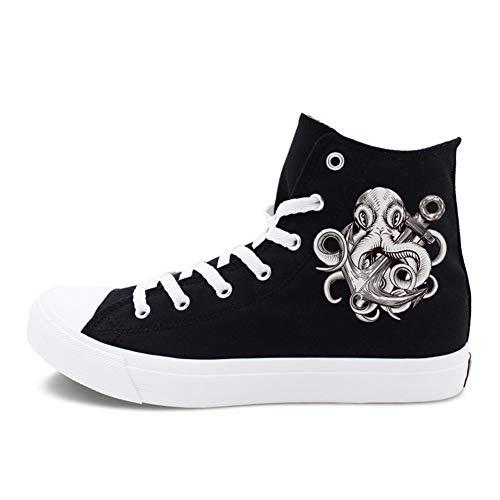 Exing Zapatos De La Mujer Lona Primavera/Otoño Comodidad Alpargatas/Zapatillas De Tacón Plano Talón Redondo con Cordones Blanco/Negro,Black,36