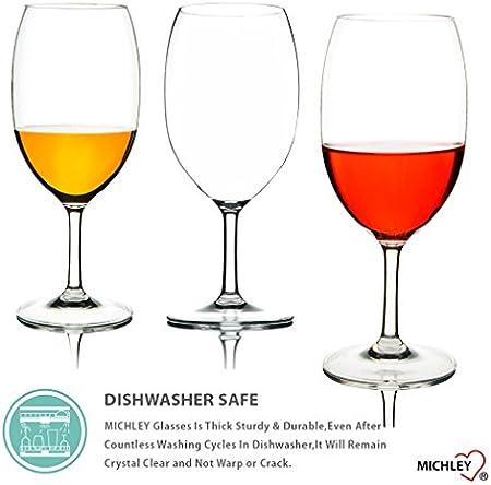MICHLEY copas de vino, 100% Tritan-plástico Irrompible copas vino cristal, 570 ML copas de vino tinto grandes, BPA y EA gratis vasos de plastico Conjunto de 4