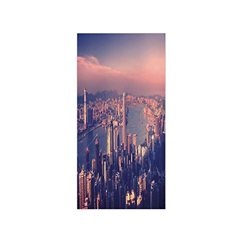 3D Decorative Film Privacy Window Film No Glue,City,Dreamy View of Chinese City Hong Kong Urban Scene Concept Victoria Harbor,Pale Pink Night Blue,for Home&Office