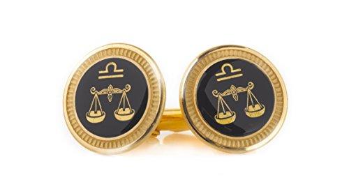 Zodiac 18-Karat Gold Plated Enamel Cufflinks (Libra)