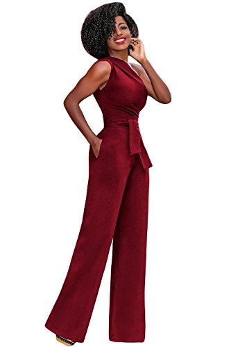 72e1c4ceb04be emmarcon tuta elegante pantaloni lungo jumpsuit vestito monospalla abito  cerimonia da donna-Red-IT44-46 L  Amazon.it  Abbigliamento