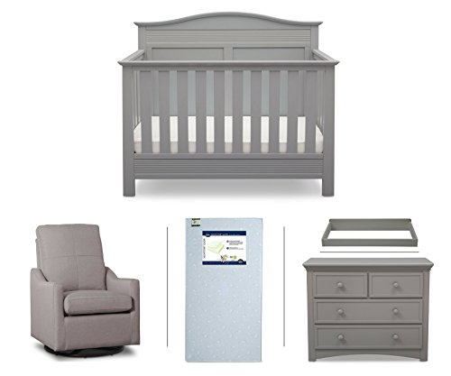 Serta Barrett 5-Piece Nursery Furniture Set (Serta Convertible Crib, 4-Drawer Dresser, Changing Top, Serta Crib Mattress, Glider), Grey/French Grey