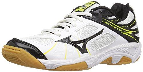 Kids Volleyball Shoes - Mizuno Lightning Star Z JNR WH-BK Volleyball Shoe (Little Kid/Big Kid), White/Black, 3 D US Little Kid