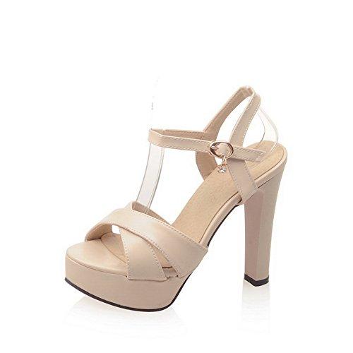 1TO9 Womens Heeled-Sandals Buckle Peep-Toe Lycra-Blend Heeled Sandals MJS02544 Apricot aVSan