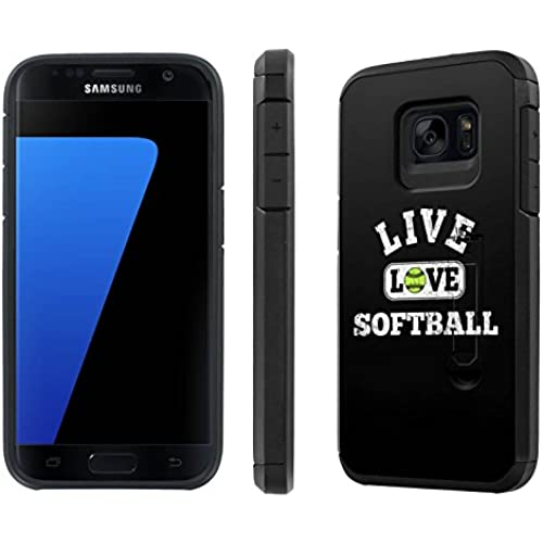 Galaxy [S7] [5.1 Screen] Defender Hybrid Case [SlickCandy] [Black/Black] Dual Layer Protection [Kick Stand] [Shock Proof] Phone Case - [Live Love SoftBall] for Sales