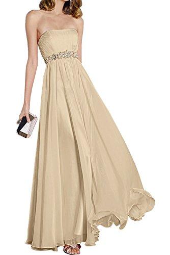 Abendkleider Elegant Perlen Brautjunfernkleider Cocktailkleider Damen Lang Trägerlos Champagner Beyonddress Z1CxOqBZ
