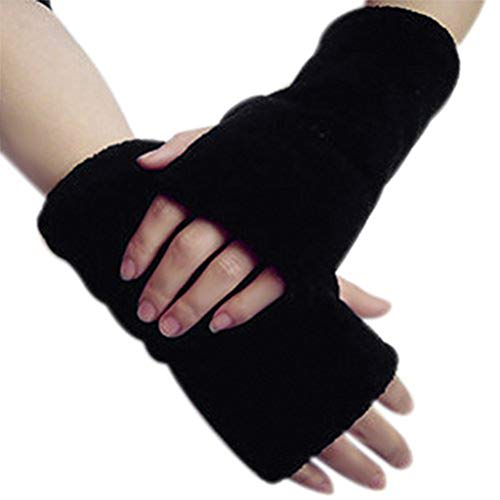 (Fashion Soft Coral Fleece Thicken Gloves Winter Warm Faux Fur Arm Fingerless Gloves Stretchy Half Finger Thumb Hole Gloves Mittens Wrist Hand Warmer for Women Ladies Girls Christmas)