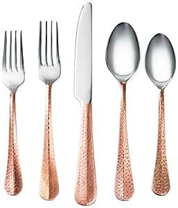 Cambridge Silversmiths 20 Piece Indira Jessamine Flatware Set, Copper, Service for 4