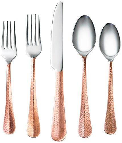 Cambridge Silversmiths 282220R 20 Piece Indira Jessamine Flatware Silverware Set, Stainless Steel/Copper, Service for 4, Includes Forks/Knives/Spoons, Finish