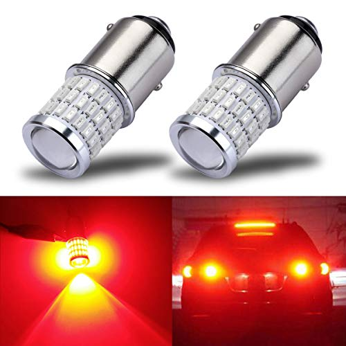iBrightstar Newest 9-30V Super Bright Low Power 1157 2057 2357 7528 BAY15D LED Bulbs with Projector replacement for Tail Brake Lights,Brilliant Red Accent 00 01 02 Tail