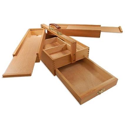 Artina Valigetta per artisti portautensili d'arte, Vannes - valigetta e cassetta di legno a 4 scomparti per accessori DK15206