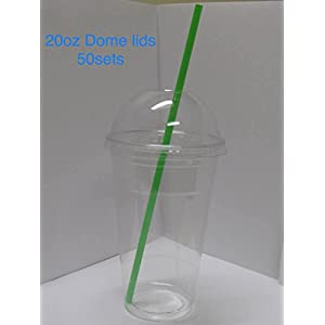 Jumbo set 50 20oz Plastic Ultra Clear Cups 50 dome lids, 50 colorful straw is for cold drinks like iced coffee, Bubble Tea, Frozen Cocktails, water , Sosa and jucies (Jumbo 50oz 50sets with straw)