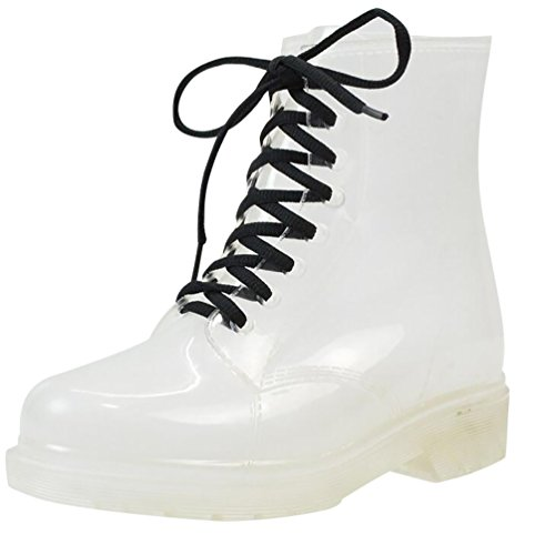 LvRao Mujer Boots de Goma de Lluvia Nieve Calentar Botas de Tobillo Transparente Impermeable Bota Corto con Cordones de Zapatos Transparente