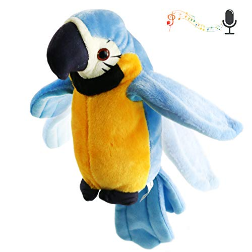 Houwsbaby Speaking Parrot Record Repeats Electronic Bird Talking Pet Stuffed Animal Waving Wings Plush Toy Interactive Animated Kids Gift, 9 in (Blue)