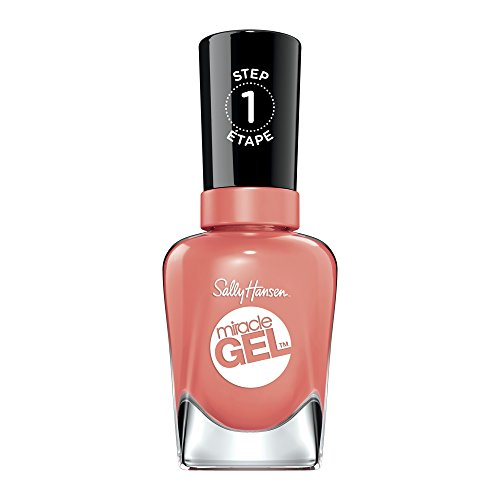Sally Hansen Miracle Gel Nail Polish, Malibu Peach 0.5 Ounce No UV Lamp Required Gel Nail Polish Chip Resistant, Long-lasting (Malibu Nail Polish)