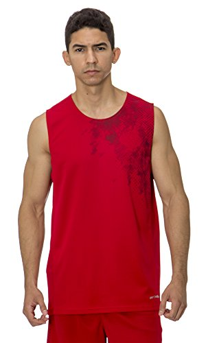 fan products of (BU3010) AeroSkin Dry Unisex Mesh Sleeveless Basketball Shirt with Graphic in Red / Black Size: 2XL