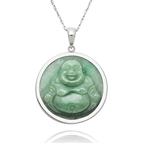 Jade Silver Necklace - Sterling Silver Natural Green Jade Buddha Necklace,18