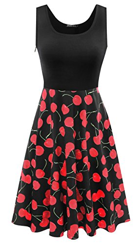 rosemia Women's Vintage Floral Print Sleeveless A-Line Skater Dresses For Party Cherry Black,L