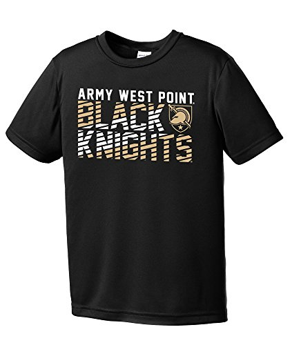 Image One NCAA Army Knights Youth Boys Diagonal Short sleeve Polyester Competitor T-Shirt, Youth X-Large,Black -