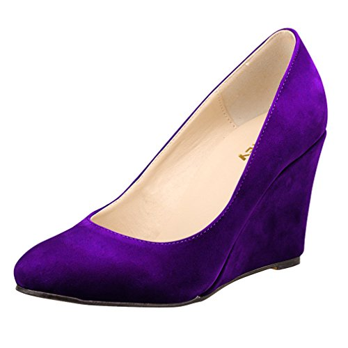 Pumps Color Violet Heel Wedge Femme Solid Mouth Single Pointe Shoes Chaussures Toe Shawow Xianshu URqw7Cw