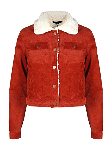 IRISIE Women Casual Corduroy Button Down Long Sleeve Short Jacket Coat(M,Dark Camel)