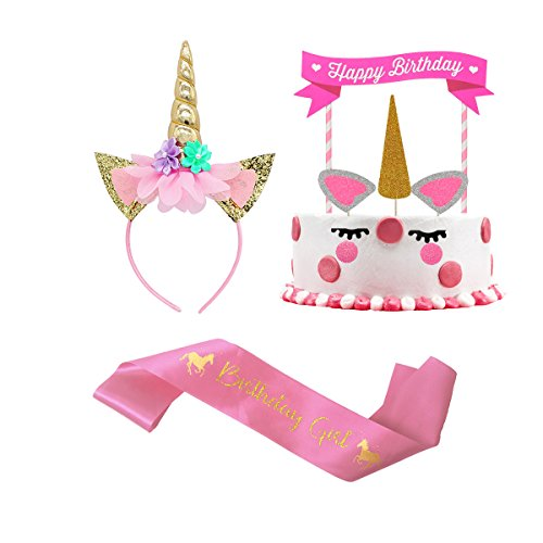 Unicorn Headband for Girls, Unicorn Party Supplies, Unicorn Cake Topper and Satin Sash Set for Girls Birthday Party Decoration Supply
