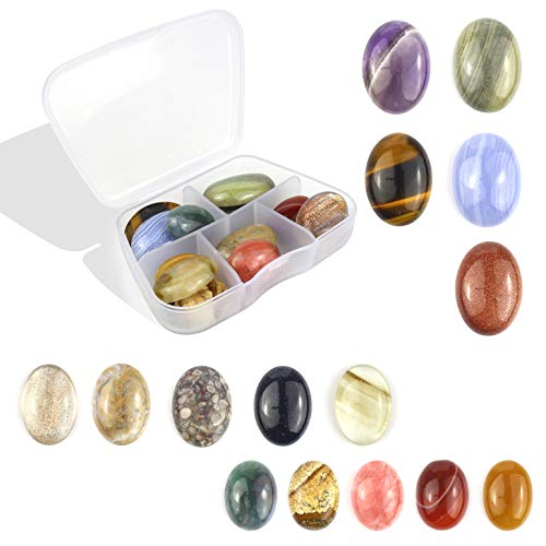 (15pcs Mixed Color Jasper Agate Gemstone Oval Flatback Cabochon CAB Beads Bulk for DIY Gemstone Jewerly Making Wholesale Lot Different Size)