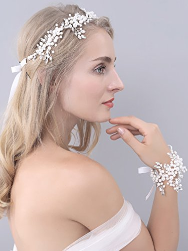 Yean Wedding Rhinestones Headband Silver Hair Vine Wedding Rhinestones bracelet Wedding Bridal Jewelry Hair Accessories for Bride and Bridesmaid (Set of (Wedding Jewelry For Bridesmaids)