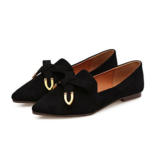 Giy Kvinner Retro Spiss Tå Loafers Flat Moccasin Slip-on Komfort Bow Klassiske Kjole Loafer Ballett Sko Svart