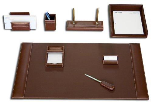 Dacasso Rustic Leather - Dacasso Rustic Brown Leather Desk Set, 8-Piece