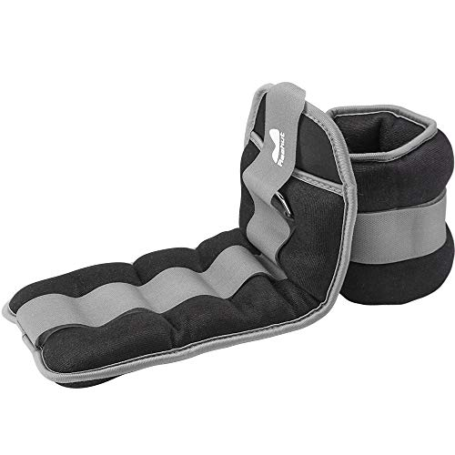 REEHUT Durable Ankle/Wrist Weights (1 Pair) With Adjustable Strap for Fitness, Exercise, Walking, Jogging, Gymnastics, Aerobics, Gym - Gray - 5 lbs x 2